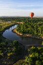 Air balloon floating over Mara River, Kenya - CUF47097