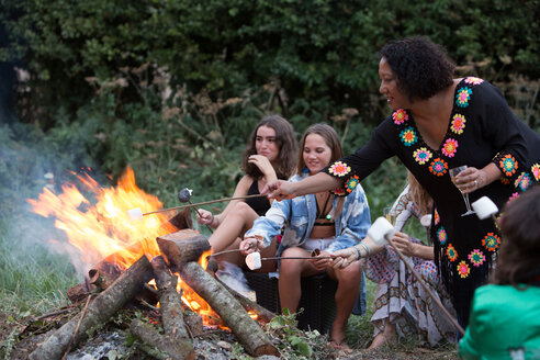 Friends toasting marshmallows at bonfire party in park - CUF47160
