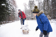 Little boy and his father with sledge in winter forest - ABIF01129