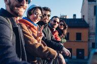 Friends on city break, Milan, Italy - CUF47229