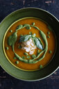 Bowl of fresh garnished soup , overhead view - CUF47550