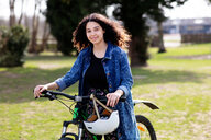 Teenage girl on pushbike - CUF47679