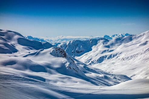 Snow covered Alps, Davos Platz, Graubunden, Switzerland - CUF47700