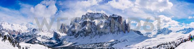 Snow covered Dolomites, Wolkenstein, Trentino-Alto Adige (Sudtirol), Italy - CUF47703