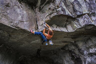 Trad climbing roof of My Little Pony route in Squamish, Canada - CUF47856