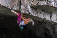 Trad climbing roof of My Little Pony route in Squamish, Canada - CUF47859