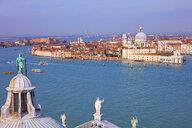 High angle view of Giudecca canal with cityscape from San Giorgio Maggiore church tower , Venice, Veneto, Italy - CUF47868