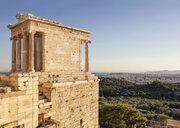 Tempel der Athena Nike, Niketempel, Sonnenuntergang, Akropolis, UNESCO-Weltkulturerbe, Athen, Griechenland - MAMF00341