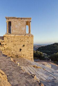 Greece, Athens, Acropolis, Temple of Athena Nike at sunset - MAMF00353