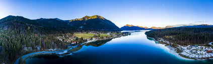 Germany, Bavaria, Upper Bavaria, Kochel am See, Panoramic view of Lake Walchen in the evening - AMF06696