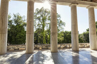 Greece, Athens, Ancient Agora, sunbeams between the pillars of Stoa of Attalos - MAMF00367