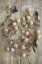 Whole and cracked organic walnuts, leaves and roseships on wood - ASF06267