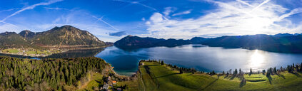 Germany, Bavaria, Upper Bavaria, Lake Walchen, Kochel am See in the evening - AMF06706