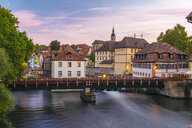 Germany, Bavaria, Bamberg, old town, Regnitz river at twilight - TAMF01152