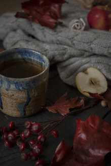 Cup of tea and autumnal decoration - JESF00210