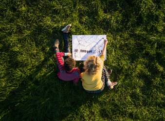 Teenage boy and girl on grass experimenting and drawing sustainable energy solutions, overhead view - CUF47915