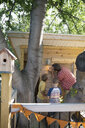 Father and sons installing light on treehouse - HEROF05385