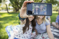Close up smiling women friends taking selfie with camera phone in park - HEROF05424