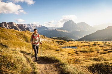 Hiking in Puez-Geisler, around Geislergruppe, Dolomites, Trentino-Alto Adige, Italy - CUF48283