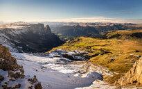Schlern-Rosengarten on Seiser Alm, Dolomites, Siusi, Trentino-Alto Adige, Italy - CUF48295