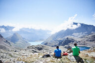 Hikers stopping for break, Mont Cervin, Matterhorn, Valais, Switzerland - CUF48427