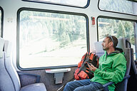 Hiker in train, Valais, Switzerland - CUF48436
