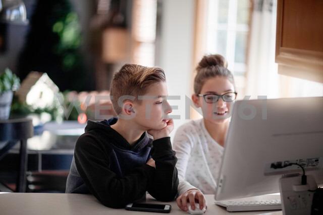 Siblings using computer at home - ISF20289