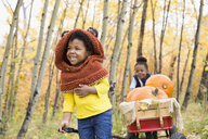 Laughing girl sisters pulling wagon with autumn pumpkins in woods - HEROF05577