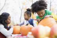 Mother and daughters drawing carving pumpkins - HEROF05583