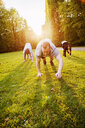 Friends exercising on grassy field in park - ASTF02247