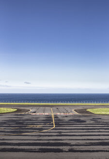 Portugal, Azores,  Fajal , View over airfield to ocean - KB00457