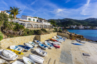 Spain, Mallorca, Sant Elm, boats at seafront - THAF02408