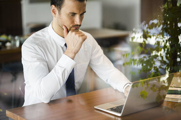 Focused businessman working on laptop in cafe on wooden table - SBOF01589