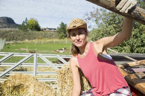 Portrait confident female farmer on sunny farm - HEROF05723