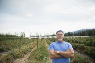 Portrait confident senior male farmer in tomato crop on farm - HEROF05750