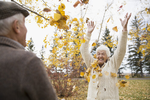 Playful senior couple throwing autumn leaves overhead in park - HEROF05807