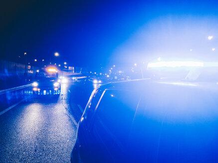 Police vehicles in highway intervention. Madrid Spain - OCMF00219