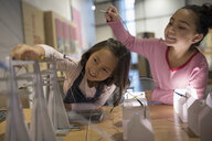 Sisters playing with electricity grid exhibit in science center - HEROF06106