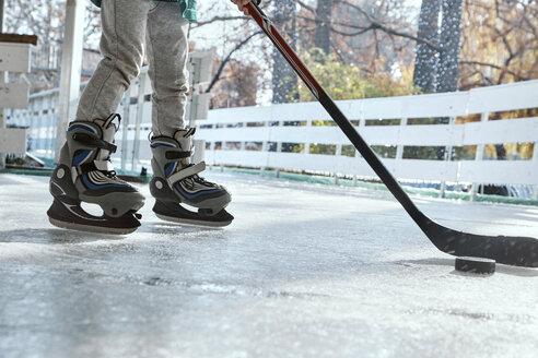 Serbia, Novi Sad, Ice skating, Boy, Hockey - ZEDF01795
