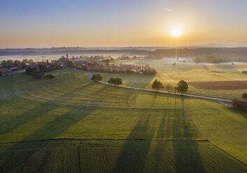 Germany, Bavaria, Lochen near Dietramszell, sunrise, drone view - SIEF08349