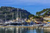 Spain, Mallorca, Port de Soller, view to harbour - THAF02444