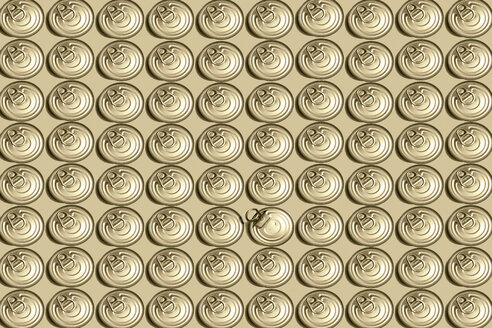 3D Illustration, row of lids, one opened - ERRF00660