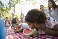 Boy and girl enjoying watermelon eating contest at summer neighborhood block party in park - HEROF06147