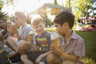 Boys eating ice cream cones at summer neighborhood block party in sunny park - HEROF06150