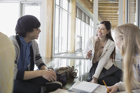 High school students studying and talking - HEROF06576