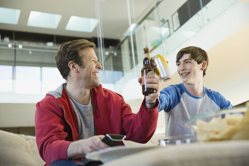 Father and son toasting drinks in living room - HEROF06693