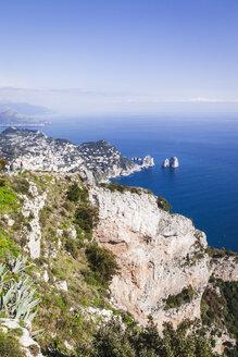Italy, Campania, Gulf of Naples, Capri Island, Anacapri, view of famous Faraglioni rocks from Monte Solaro - FLMF00103