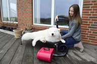 Girl blow-drying white dog on terrace - ECPF00302