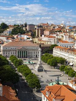Portugal, Lisboa, cityscape with Rossio Square, Teatro Nacional D. Maria II and Dom Pedro IV monument - AMF06725