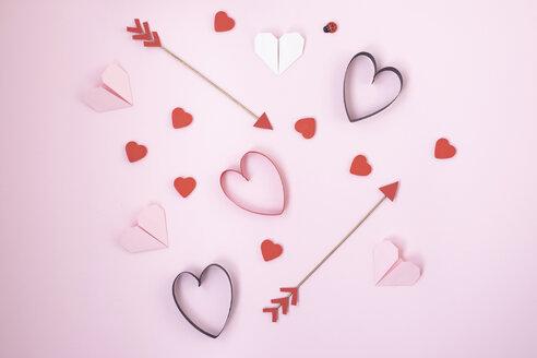 Valentines symbols on pink background - MOMF00588